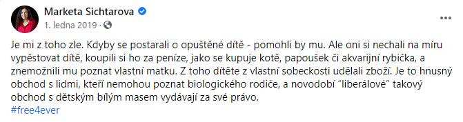 Markéta Šichtařová a komentář k dítěti Ricky Martina